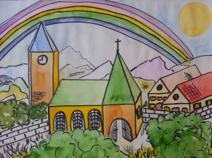 "Some Churches seem to be so ""cute"" (Painting in watercolors by Susanne Schuberth)"