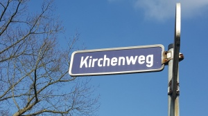 "Street sign ""Kirchenweg"" (""Church Way"") in Oberfürberg (Photo by Susanne Schuberth)"